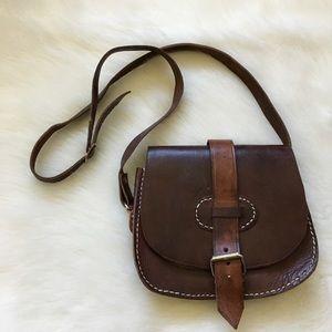 Dark Brown Vintage Leather Crossbody Purse